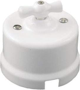 Выключатели одноклавишные проходные на одно положение производства Bironi в ретро-стиле для накладного монтажа белый B1-201-21