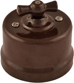 Выключатели одноклавишные проходные на одно положение производства Bironi в ретро-стиле для накладного монтажа B1-201-22 коричневый