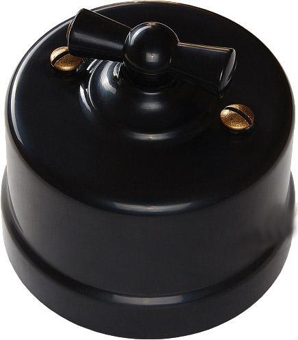 Выключатели одноклавишные проходные на одно положение производства Bironi в ретро-стиле для накладного монтажа черный B1-201-23